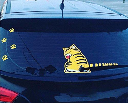 Etiquetas engomadas móviles de la cola del gato Etiquetas engomadas reflexivas del limpiaparabrisas de la ventana del coche-Amarillo
