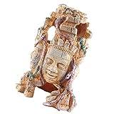Balacoo Acuario Cabeza de Buda Estatua Decoraciones Pecera Resina Escultura de Buda Ornamento Hideout Betta Cueva Dormir Descanso Juego para Peces Pequeños Gambas Lagartijas