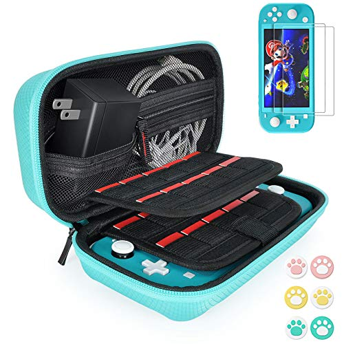 Hestia Goods Carrying Case for Nintendo Switch Lite with 2 Pack Screen Protector & 6 Pcs Thumb Grip, 20 Game Cartridges Hard Shell Travel Switch Lite Pouch Case Console & Accessories, Turquoise
