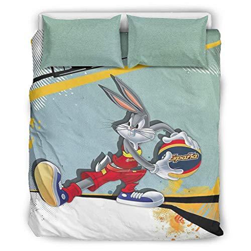 Rcerirt Bunny Bugs Basketball Hotel Bed Linen Set Lightweight Deep Pocket for Home Bedroom Children's Room Rv, Polyester, White, 168x229cm