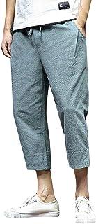 92771204aa wodceeke Mens Solid Color Casual Baggy Cotton Linen Pocket Harem Pants  Beach Seven Points Haren Pants