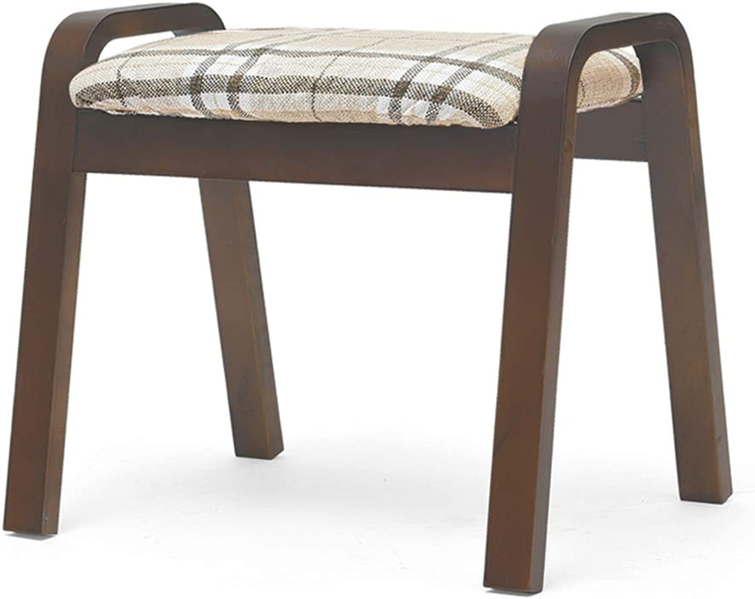 Stool Wooden Striped Chair Cover Living Room Fashion Creative Small Bench Low Stool Sofa shoes Bench (color   Brown, Size   44.5x33x36cm)
