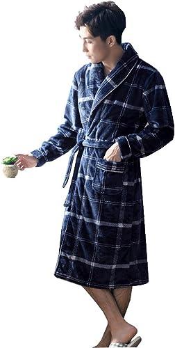 NAN liang Peignoirs 100% coton à hommeches longues pour hommes, grande taille Peignoir de nuit ultra doux, épais et luxueux, peignoir de bain (XXL, XXXL) (taille   XXXL)