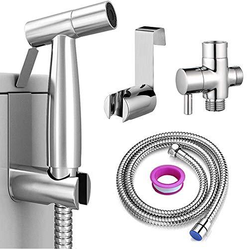 DJROLL Bidet Handbrause für WC, Sprühaufsatz mit Schlauch für weibliche Wäsche, Babytuchwindeln, Edelstahlreiniger und Duschsprüher für Haustiere, Badezimmer oder Toilette