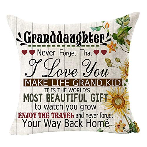 Andreannie Best Gift to Granddaughter Never Forgot That I Love You Make Life Grand,Kid Cotton Linen Throw Pillow Case Cushion Cover Decorative Square 18 X 18 Inches¡