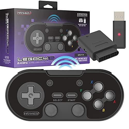 Retro-Bit Legacy 16 Wireless 2.4GHz Controller for SNES, Switch, PC, MacOS, RetroPie, Raspberry Pi and Other USB Devices - Onyx
