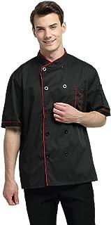 Short Sleeve Chef Jacket Kitchen Cook Coat Stripe Uniforms