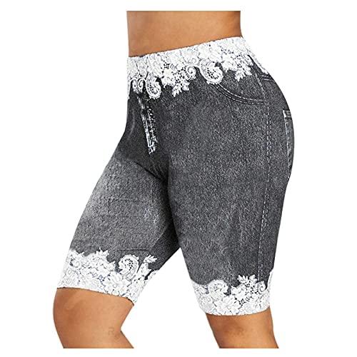 Zonary Damen Sportshorts Hotpants mit Hoher Taille Große Größe Spitze Kurze Hose Basic Casual Jeans Shorts Schmetterling Drucken Lässige Sport Stretch Shorts
