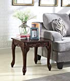 Roundhill Furniture Traditional Ornate Detailing Wood End Table, Dark Cherry