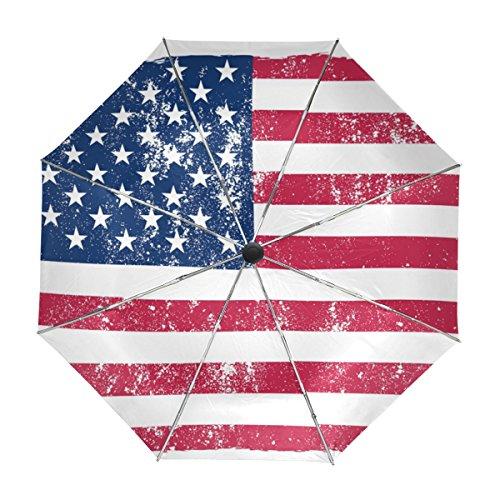 MyDaily Regenschirm mit USA-Flagge, Vintage-Design, automatischer Schließung, UV-Schutz, Winddicht, leicht
