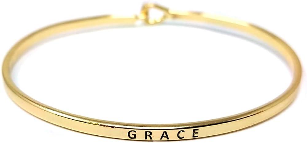 Me Plus Inspirational Bracelets for Personalized Gifts Positive Message Engraved Thin Bangle Hook Bracelet