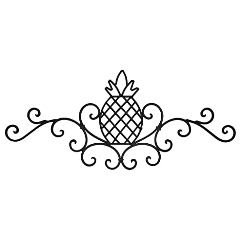 UDL Decorative Metal Wall Art Sculpture, Rustic Scrolled Wrought Iron  Pineapple Plaque, Dark Brown - Pineapple Outdoor Decor: Amazon.com