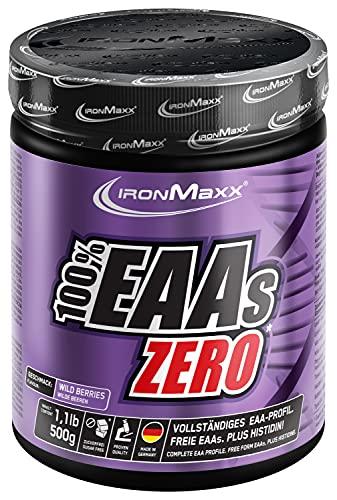 IronMaxx 100 Prozent EAAs Zero Aminosäuren Pulver zuckerfrei, Geschmack Wildberry, 1 x 500 g Dose (1er Pack)