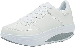 Logobeing Zapatillas de Mujer, Zapatos Planos Mujer con Cordones Adelgazar Zapatos Sneakers para Caminar Zapatillas Aptitud Cuña Plataforma Zapatos