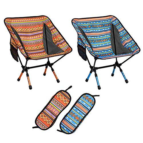 Campingstuhl Tragbar Strandstuhl Faltbar Anglerstuhl Alu Klappstuhl Ultraleicht Klappstuhl, zusammenklappbar für Wandern, Strand, Angeln, Picknick, mit Tragetasche bis zu 120 kg belastbar (Orange)