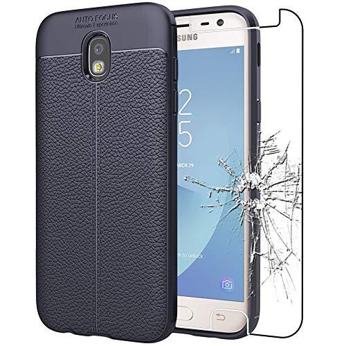 ebestStar - Funda Compatible con Samsung J3 2017 Galaxy SM-J330F Carcasa Silicona Gel, Protección Diseño Cuero Ultra Slim Case, Azul Oscuro + Cristal Templado [Aparato: 143.2 x 70.3 x 7.9mm, 5.0'']