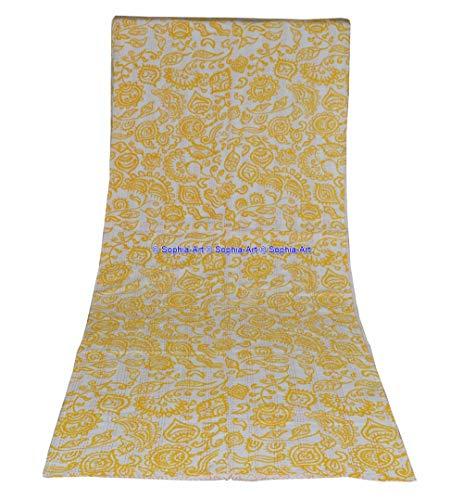 Sophia-Art Couvre-lit réversible Indien février Inde Motif imprimé Floral Couvre-lit Gudri Pur Coton Kantha Style décoratif Kantha Point Couette (Yellow, King 90 * 108 inches)