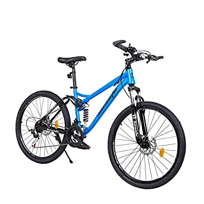hosote 26 Inch Mountain Bike, Full Suspension 21 Speed High-Tensile Carbon Steel Frame MTB with Dual Disc Brake for Men and Women