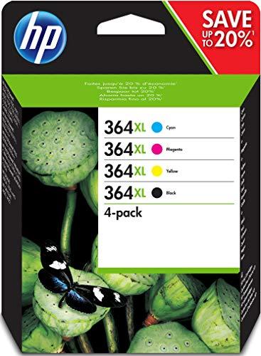 HP 364XL N9J74AE, Negro, Cian, Magenta y Amarillo, Cartuchos de Tinta de Alta Capacidad Originales, Pack de 4, compatible con impresoras HP Photosmart serie C5300, C6300, B210, B110 y Deskjet 3520