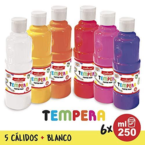 Starplast Pack 6 Témperas Líquidas, Pintura Base Agua, 250ml, Lavable para Fiestas, Estudiantes de Arte, Artístas, Colores Cálidos