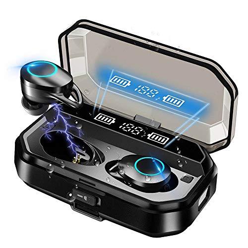 Auriculares Bluetooth 5.0 Yishark TWS Auriculares Inalámbricos Sonido Estéreo con Micrófono Manos Libres Auriculares Mini Twins In Ear Auriculares Deportivos con Caja de Carga para iPhone Android