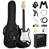 Vangoa 39 Inch Full Size Electric Guitar Beginner Starter Kit Solid Body Black with Amplifier, Bag, Cable, Tremolo Bar, Strap, Tuner, Strings, Capo, Picks