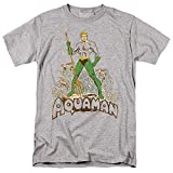 Aquaman Distressed Unisex Adult T Shirt for Men and Women, Athletic Heather, Small