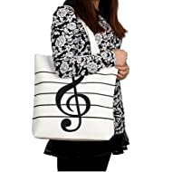 HOODDEAL Women's Girls' Music Symbols Print Canvas Tote Shopping Handbags Shoulder Bags