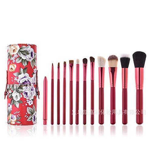 Pinceaux Maquillage Set 12 bâtonnets de pinceau de maquillage avec seau de rangement, 11 pivoines rouges