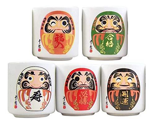 Japanische Ochoko Daruma Sake-Becher, 5 Stück