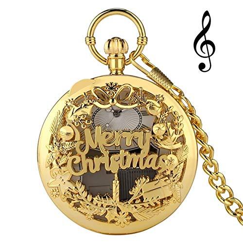 UIEMMY Reloj de bolsillo de oro rosa con manivela y música de cuarzo, reloj de bolsillo único para jugar a la música, reloj de bolsillo de Año Nuevo, regalos de Navidad para hombres y mujeres, oro