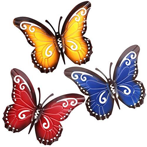 You&Lemon 3 Stück Bunten Metall Schmetterling, Wanddekoration Gartendeko Skulpturen Dekoration Garten Geschenk Indoor Outdoor Hausgarten Yard Lawn Art Decor
