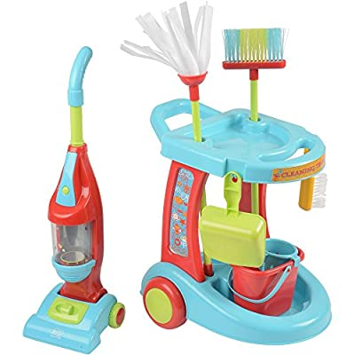 Constructive Playthings Kid-Sized Little Helper Cleaning Trolley with Play Vacuum Cleaner, Sweeper and Duster for Toddlers, 12-Piece Set by US Toy & Constuctive Playthings