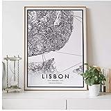 Mapa de la ciudad de Lisboa, decoración nórdica para sala de estar, póster de lienzo, decoración moderna para el hogar, pintura artística impresa-50x70cm sin marco