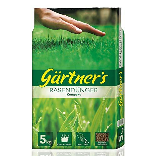 Gärtner's Rasendünger Kompakt 5 kg I NPK Dünger 10+5+5 mit Magnesium & Eisen I Organisch-Mineralischer Volldünger I Sofort- und Langzeitdünger I Rasendünger Kompakt für bis zu 50m²