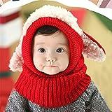 ZTH Invierno Bebé Niños Niñas Chicos Cálido Lana Coif Capucha Bufanda Gorras Sombreros (Rojo) rojo Rojo