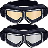 2Pieces Motorcycle Goggles Vintage Pilot Style Cruiser Scooter Goggle Outdoor Sand Goggles ATV Anti-Scratch Leather Dust Glasses Dustproof Windproof Bike Racer Cruiser Touring Eyewear for Men Women