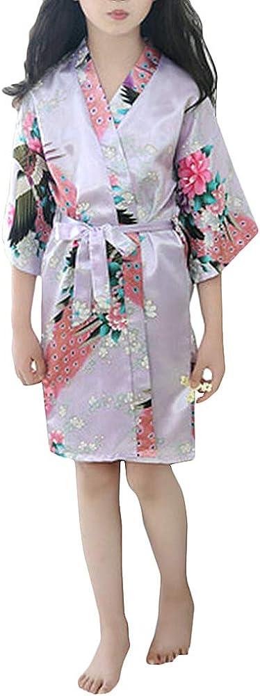 Girls Satin Kimono Robe Kids Bathrobes Nightgown Sleepwear