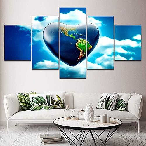 J-Clock Imágenes Impresas en HD, póster de Pintura en Lienzo, 5 Paneles, Arte de Pared de Islas en Forma de corazón, decoración Moderna del hogar para Sala de Estar
