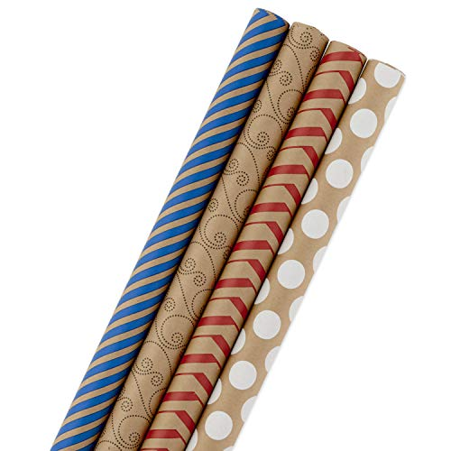 Hallmark Wrapping Paper Bundle - Kraft Brown with Red, Blue, White, Black Designs (Pack of 4, 88 sq. ft. ttl.) for Christmas, Birthdays, Father's Day, Kids Crafts, Care Packages, Handmade Banners