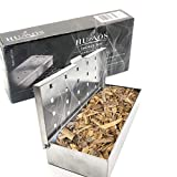 Humos Heavy Duty Smoker Box for Wood Chips and Pellets for Gas & Charcoal Grills. Stainless Steel, Lid with hinge