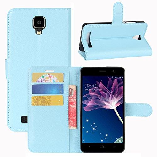 HualuBro Doogee X10 Hülle, [All Aro& Schutz] Premium PU Leder Leather Wallet HandyHülle Tasche Schutzhülle Flip Hülle Cover für Doogee X10 Smartphone (Blau)
