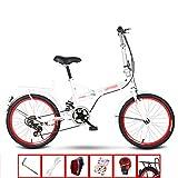 YSHCAPlegable Bicicleta, con Estante 20 Pulgadas Marco de Acero al Carbono Bicicleta Plegable Street Bicicleta Plegable Urbana,White-B