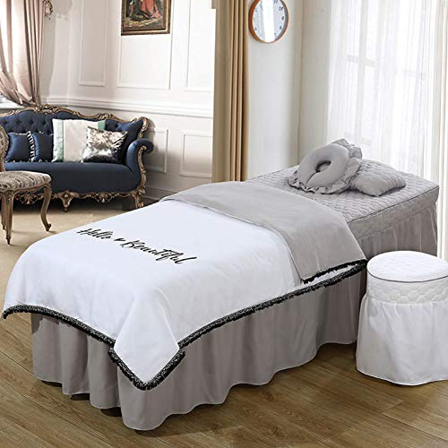YXLJYH Simple Massage Table Sheet Sets Korean Beauty Bed Cover 4 Sets Bed Skirt Sheet Salon Bed Cover Body Fumigation Physiotherapy Massage Bed Cover-D