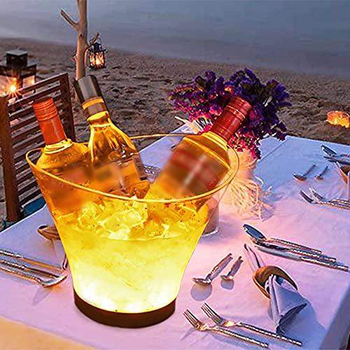 Cubitera de hielo LED de 6 L, con bombilla gradiente multicolor, enfriador de botellas – Enfriador de botellas / enfriador de vino / bebidas, para casa restaurante Pub Party Supplies Tools