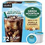 Green Mountain Coffee Roasters Brew Over Ice Vanilla Caramel, Single Serve Keurig K-Cup Pods, Flavored Iced Coffee, 72 Count