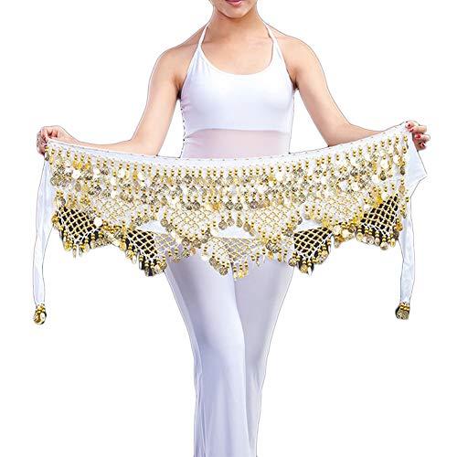 Guiran Damen Bauchtänzerin Kostüm Tanztuch Hüfttuch Samba Bauchtanz Münztuch Münzgürtel Weiß
