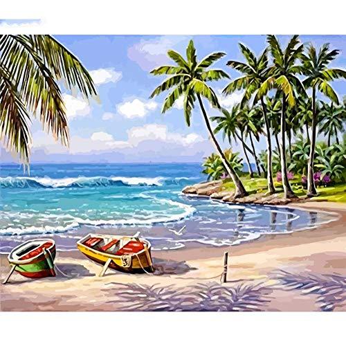 QAZEDC Digitale schilderij handgemaakte speelgoed puzzel Frame Beach Landschap DIY Schilderij Getallen Kleurplaten Modern Huis Muur Art Picture Gift Unqiue Artwork