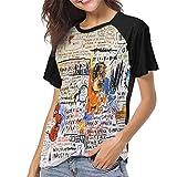 MeiShop Custom Raglan Short Sleeve T Shirts tee Jean Michel Basquiat 50 Cent Piece Women Classic Fashion Print T-Shirt Camisetas Cortas para Mujer