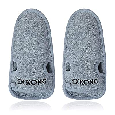 2 pcs Bath Exfoliating Shower Gloves, Dead Skin Cell Remover. Bath and Shower Gloves for Deep Cleaning and a Healthy Looking Skin (grey) by EKKONG